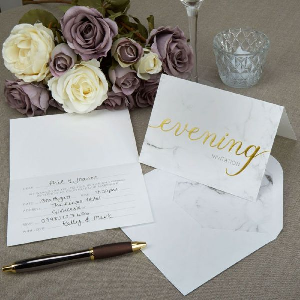 Scripted Marble Evening Invitations (10)